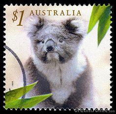 Australia koala postage stamp by Anthony Baggett, via Dreamstime