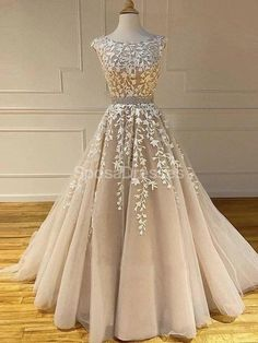 Champagne Round Neck Applique Lace Prom Dress,Beaded Formal Dress · Grace Girls Dress · Online Store Powered by Storenvy Open Back Prom Dresses, Long Prom Gowns, Cheap Evening Dresses, Cheap Prom Dresses, Prom Party Dresses, Pageant Dresses, Evening Gowns, Senior Prom Dresses, Ball Gowns Prom