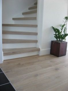 Ideal floors (color and width) treden in whitewash Tile Stairs, House Stairs, Small Space Interior Design, Floor Colors, House Entrance, Staircase Design, Home Reno, Stairways, Design Case