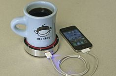 Ditch the charger and wall outlets with the Epiphany onE Puck charger, a device that uses a drink's temperature (either hot or cold) to charge a smartphone or iPod.