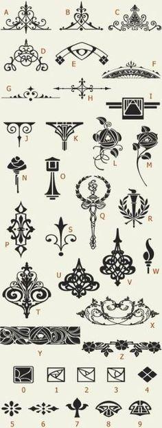 Letterhead Fonts / LHF Golden Era Art Elements / Golden Era Studios by pamela Art Nouveau, Elements Of Art, Design Elements, Kalender Design, Stencils, Motif Art Deco, Letterhead, Arabesque, Line Art