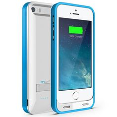 Maxboost Atomic S External Protective iPhone 5S Battery Case / iPhone 5 Battery Case with Built-in Kickstand - White / Blue (Apple MFI Certified, Fits All Versions of iPhone 5 / 5S - Lightning Connector Output, MicroUSB Input ) [100% Compatible with iPhone 5 / 5S on iOS 7.0+ , Strengthened MicroUSB Input Port, No Signal Reductions]