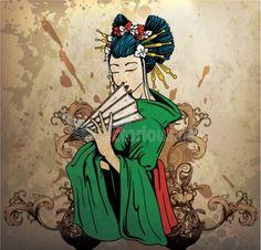 1033-geisha on grunge background