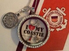 LOVE MY COASTIE Locket.  Laminated backgrounds now available at www.charmingincentives.com  #floatinglocket #uscgwife Floating Lockets, Pocket Watch, Backgrounds, Personalized Items, My Love, My Style, Accessories, Pocket Watches, Backdrops