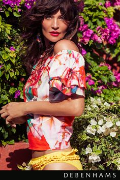 Star by Julien Macdonald bardot top. Tropical, fruity, floral – when it comes to print this summer the rules are - there are no rules. This floral print cotton top is the perfect place to start for summer prints. Available now at Debenhams.