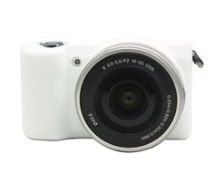 CEARI Flexible Silicone Camera Case Protective Cover Skin for Sony Alpha A5000 A5100 with 16-50mm Lens   MicroFiber Clean Cloth - White * For more information, visit image link.