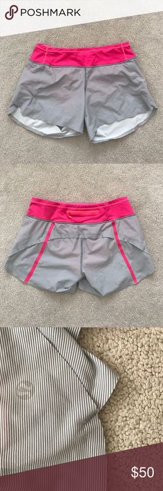 Lululemon. Turbo Run Short. Wee Stripe Fossil Pink Excellent condition! Pink is Flash Pink.  🚫 no trades ✖️ no holds 🔵 offers considered through the offer button ♻️ if it's listed, it's available lululemon athletica Shorts