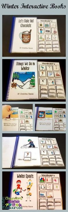 These winter interactive books are great for young learners connecting word to text.  Interactive visuals are designed with words and pictures for easy differentiation.  Targeted vocabulary includes nouns and verbs.