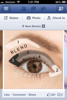 areas numbered for smokey eye (Tip)