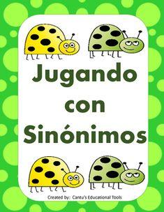 Jugando con sinonimos:  Este producto incluye tres diferentes juegos para que los estudiantes aprendan, practiquen y al mismo tiempo aprendan acerca de los sinonimos.Incluye:Juego  #1 (matching cards)Juego  #2 (matching cards)Juego 3 (Yo tengo _____quien tiene un sinonimo de _____)Hoja de respuestasGracias por comprar mi producto,Cantu's Educational ToolsFor more Spanish products visit my store!!!!Feedback is appreciated!!!