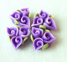 Flor de Fimo única 4pcs violeta por EggcellentCraftStore en Etsy