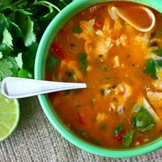 Spicy, healthy and delicious: Chicken Tortilla Soup.  Okay! Update - we made this for dinner and it was out of this world! I changed two things. I used tortilla strips that are used and salad and baked them to warm them up and seasoned them with lime juice. I also used dried cilantro instead of garnishing with fresh. We were blown away. Amazing dish!