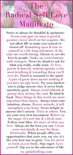 """Strive to always be thankful and optimistic..."" The Radical Self Love Manifesto self esteem tips, self love"