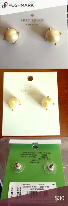 Authentic Kate Spade pearl earrings Brand new authentic Kate Spade cream pearl earrings. kate spade Jewelry Earrings