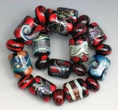 SJC Lampwork 23 handmade dichroic & silver glass barrel & donut beads ~SRA~ USA~ #sjclampwork #Lampwork