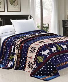 Blue Christmas Reindeer Snowflake Flannel Fleece Blankets - Each one is made of high quality flannel and come in 4 beautiful color styles including Blue, Burgundy, Pink, and Chocolate Brown. Each bed blanket is light weight and will keep you warm on any cold night, can be used as both a bed blanket coverlet or a throw blanket. #Christmas