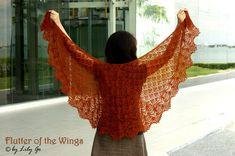 Flutter of the Wings Knitting Shawl Kit PDF Pattern  by lprajogo