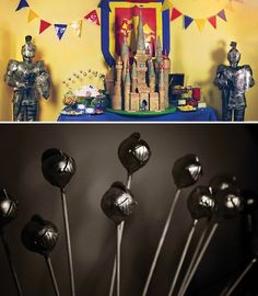 knight armor cake pops and party decor