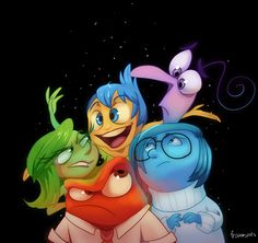 Trying to get over artblock with this little pic of Joy, Fear, Disgust, Anger and Sadness from the upcoming Pixar movie Inside Out! Inside Out Disney Pixar, Disney And Dreamworks, Disney Animation, Disney Cartoons, Disney Art, Walt Disney, Disney Girls, Disney Love, Disney Magic