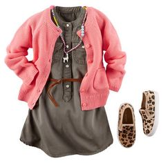 Carter's - A soft olive shirt dress looks super cute under a pink cotton cardi. With a llama necklace and leopard flats, she'll go wild over this style!