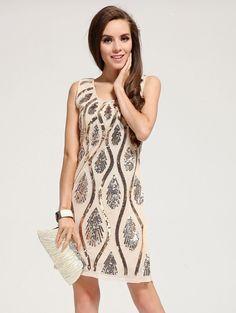 Vestido lentajuelas sin manga-crudo