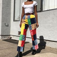 93b45dc89 Vintage 60s colorful patchwork corduroy gold trousers by Mac - Depop Black  Women Fashion