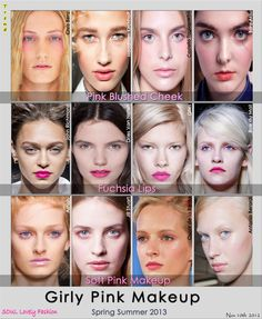 Girly Pinky Makeup Trend for Spring Summer 2013.  - Pinky Blushed Cheek.  - Fuchsia Lipstick.  - Soft Pink Makeup. #makeup #trends