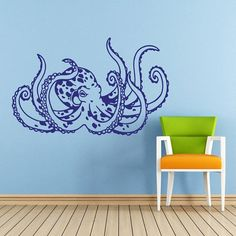 Octopus Wall Decal Tentacles Sprut Kraken Ocean Sea Animal Wall Decals Vinyl Sticker Interior Home Decor Vinyl Art Wall Decor Bedroom SV5831 by supervinyldecal. Explore more products on http://supervinyldecal.etsy.com