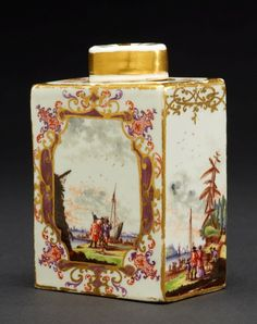 Meissen  (Germany 1710–) | Ceramic Tea Canister and Cover, circa 1730 | 10.8 x 7.3 x 5.2 cm