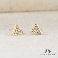 Shop dainty, gold pieces on my c+i boutique! These fabulous triangle earrings are just $24 and come with our Lifetime Guarantee! www.candibykristin.com #triangle #earrings #chloeandisabel