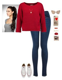 """""""The Valentine"""" by hanakdudley ❤ liked on Polyvore featuring Rebecca Minkoff, Converse, Casetify, Linda Farrow, Finn and Lime Crime"""