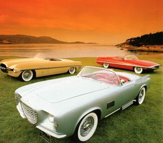 Chrysler Falcon (Ghia), 1955 - Three Falcon concept cars were built by Chrysler's Advanced Styling Studio, each with a 105-inch wheelbase and 170-horsepower DeSoto Hemi V-8. https://www.youtube.com/watch?v=yvRu4nof9FI