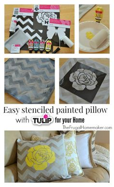 Easy Stenciled painted pillow with #TulipforHome #ilovetocreate