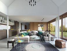 DOM.PL™ - Projekt domu DZW Odważny 2 CE - DOM DW1-90 - gotowy koszt budowy Good House, Modern House Design, New Homes, Cottage, Table, Furniture, Samara, Park, Home Decor