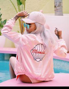 Jacket: pink bomber jacket, bomber jacket, cap, sunglasses, pink jacket, mermaid, pink hat, satin bomber, all pink everything - Wheretoget
