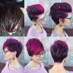 Her previous color was a violet brown with some copper tips from last hair session. I did a top panel of heavy slices in foil of @kaaral_italia bleach with 30vol and @uberliss bond regenerator. In the front I sliced a few foils back to back to give a heavy pink fringe. Her violet rootsmudge was on while that processed. I used the Kaaral 5.2 with violet booster and 20vol for her base color. After shampooing we covered her entire head with a mix of @kenraprofessional neon fuschia…