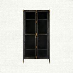 Hand-forged iron, antique brass finials, & tempered glass doors = beautiful. Wyatt Iron Cabinet - Arhaus