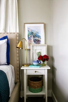 6th Street Design School: A Master Bedroom Refresh - spray painted basket (could do for nightstand)