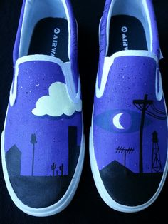 Welcome To Night Vale Glow Shoes These spooky slip-ons were customized by Tumbler user Fond-ness with scenes from the infamous Welcome To Night Vale podcast painted onto them and highlighted with glow-in-the-dark paint. Glow Shoes, Glow Cloud, The Moon Is Beautiful, Vanz, Painted Shoes, Painted Converse, Dog Park, Custom Shoes, The Darkest