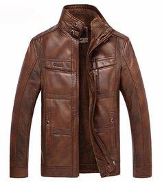 men leather jacke jaqueta de couro masculina t fur coat leather PU jacket coat Velvet stand collar size veste cuir homme Pu Jacket, Men's Leather Jacket, Faux Fur Jacket, Leather Men, Jacket Men, Fur Coat, Leather Coats, Sheep Leather, Biker Leather