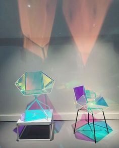 Industrial design inspiration A dichroic film applied to the seat of Designs Prismania Chair creates a colourful iridescent glow Read more at Salone del Mobile 2016 Wallpaper My New Room, My Room, Chair Design, Furniture Design, Frosted Glass Window, Interior And Exterior, Interior Design, Deco Design, Home And Deco