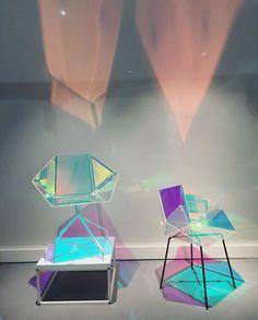 A dichroic film applied to the seat of Eli5e Design's 'Prismania Chair' creates a colourful iridescent glow Read more at http://www.wallpaper.com/salone-del-mobile/2016#a69zCjfQVaKRYHCY.99 Salone del Mobile 2016 | Wallpaper*