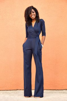 Style Pantry | Navy Diamond Print Jumpsuit
