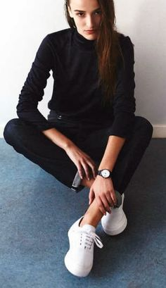All black with white sneakers. Minimal + Classic: Eytys white sneaker outfit…