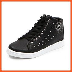 89ecfddf7a4dad EpicStep Women s Black Casual Studded Faux Leather High Tops Hidden Wedges  Fashion Sneakers Shoes 6.5 M