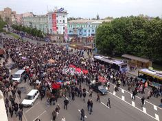 #VictoryDay march in central #Donetsk right now  via @BBCWillVernon 09-05-14 11 uur pic.twitter.com/03PqmUGkGT