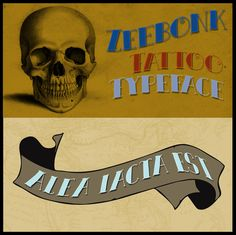 Zeebonk font - perfect for vintage style tattoos! By Hanoded.