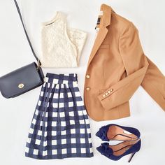 Banana Republic gingham skirt, madmen lace top, coach navy crossbody, J.Crew camel schoolboy blazer, navy bow pumps - preppy work outfit- not digging the shoes. I would fall flat on my face Fashion Mode, Petite Fashion, Work Fashion, Womens Fashion, Preppy Fashion, Fashion Brands, Preppy Work Outfit, Preppy Style, Preppy Fall