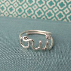 Too cute! Oui ring in sterling silver