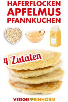 Gesunde vegane Pancakes mit Haferflocken und Apfelmus   ohne Banane, ohne Mehl, ohne Zucker, ohne Ei, ohne Milch, ohne Weizen   Veganes Pfannkuchen Rezept deutsch   4 Zutaten   vegan glutenfrei zuckerfrei   Leckeres gesundes veganes Frühstück   Einfaches Rezept mit VIDEO #VeggieEinhorn